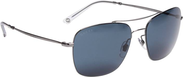2fe3ab8515d Buy GUCCI Aviator Sunglasses Blue For Men Online   Best Prices in ...