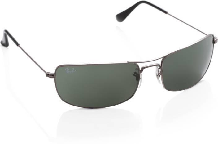 Buy Ray-Ban Rectangular Sunglasses Green For Men Online