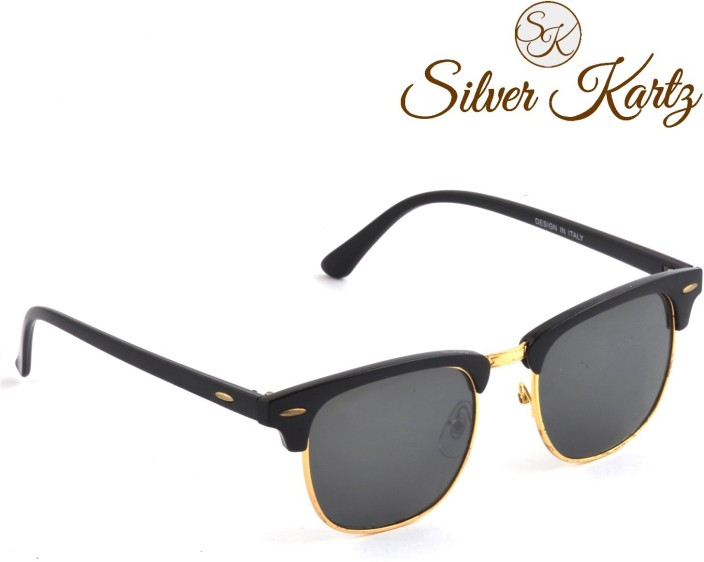 black gold clubmaster  Buy Silver Kartz Clubmaster Gold Classic Wayfarer Sunglasses Black ...