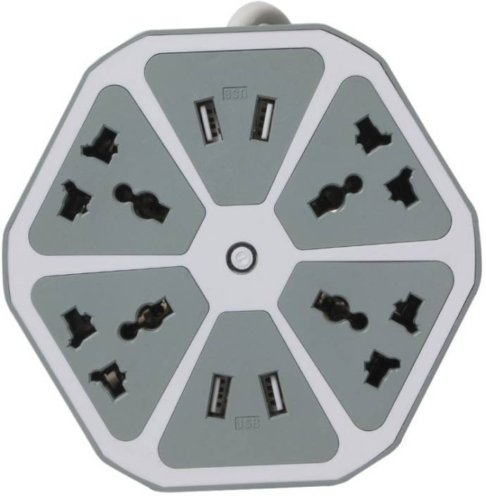 Callmate 4 USB Hexagon with 4 in 1 cable 4 Socket Surge Protector