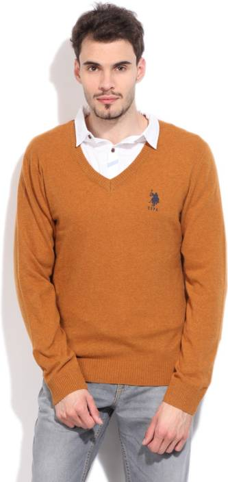 U.S.Polo Assn Solid V-neck Casual Men Yellow Sweater