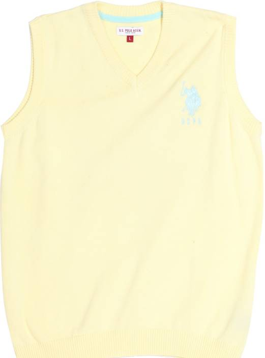 U S Polo Kids Solid V-neck Casual Boys Yellow Sweater