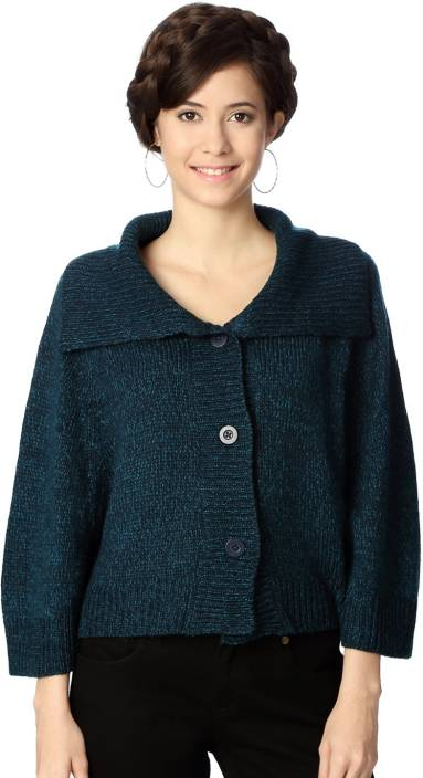 People Woven Round Neck Casual Women Blue Sweater