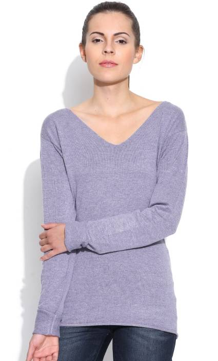 Silly People Solid V-neck Casual Women Purple Sweater