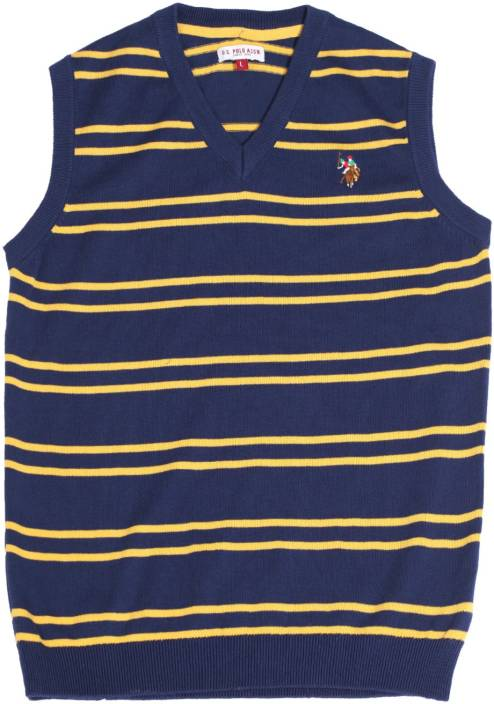 U S Polo Kids Striped V-neck Casual Boys Blue Sweater
