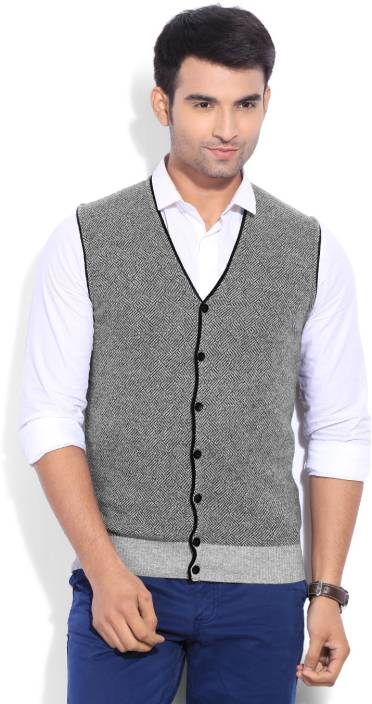 United Colors of Benetton. Solid Casual Men Grey Sweater