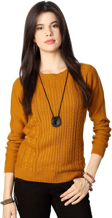 People Woven Round Neck Casual Women Yellow Sweater - Buy Yellow ...