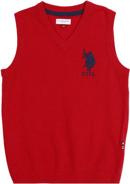 U S Polo Kids Solid V-neck Casual Boys Red Sweater