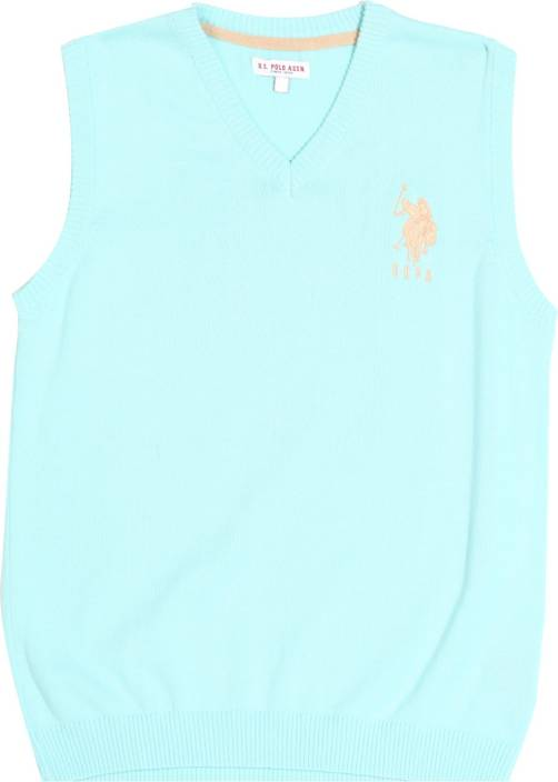 U S Polo Kids Solid V-neck Casual Boys Blue Sweater