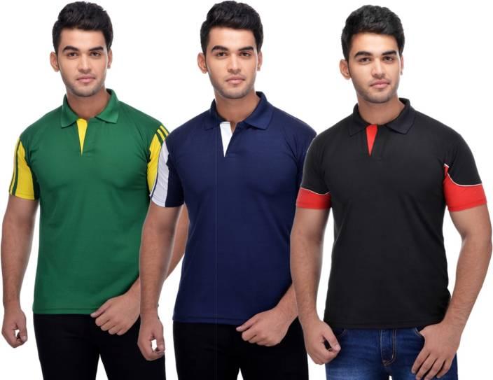 Lannister Striped Men's Polo Neck Multicolor T-Shirt