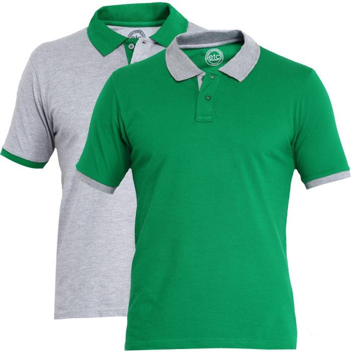 Etc solid men 39 s polo neck green grey t shirt buy green for What is polo neck t shirts