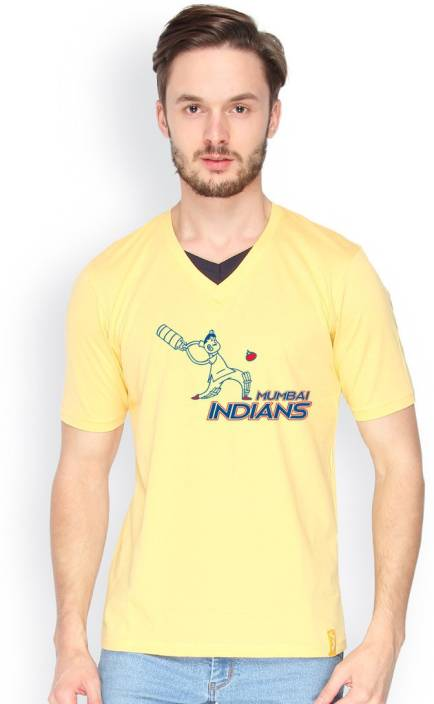 Campus Sutra Printed Men V-neck Yellow T-Shirt
