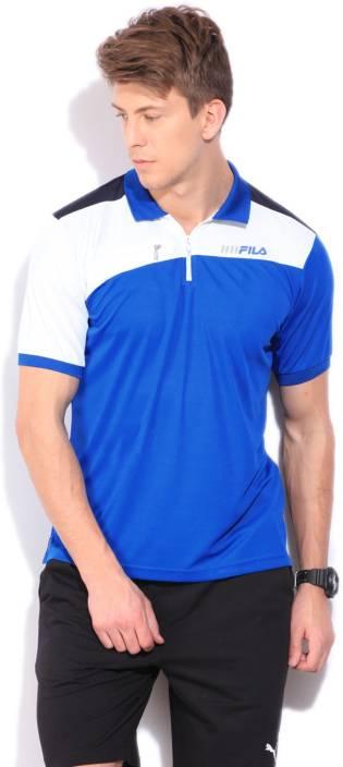 Fila Solid Men's Polo Neck White T-Shirt