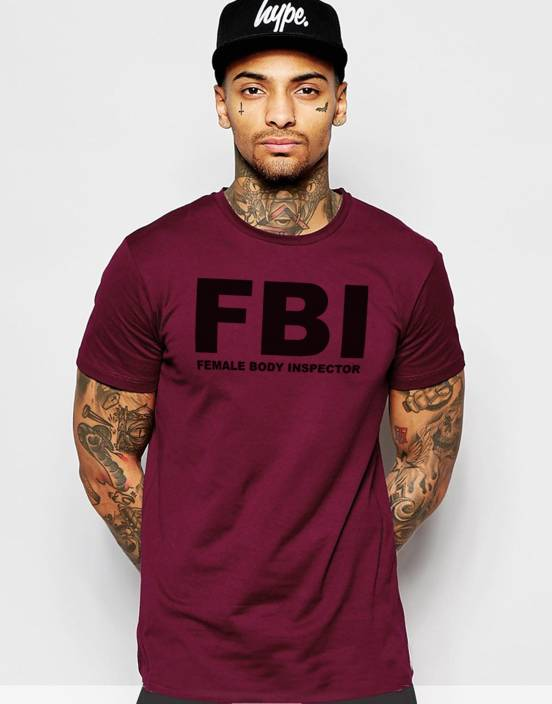 Young Trendz Printed Mens Round Neck Maroon T-Shirt