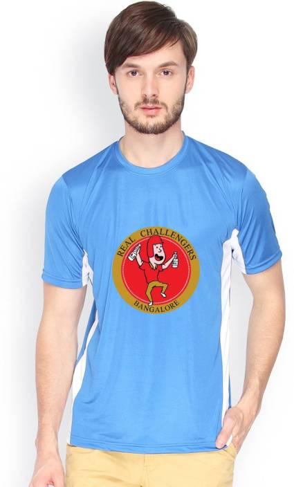 Campus Sutra Printed Men Round Neck Blue T-Shirt