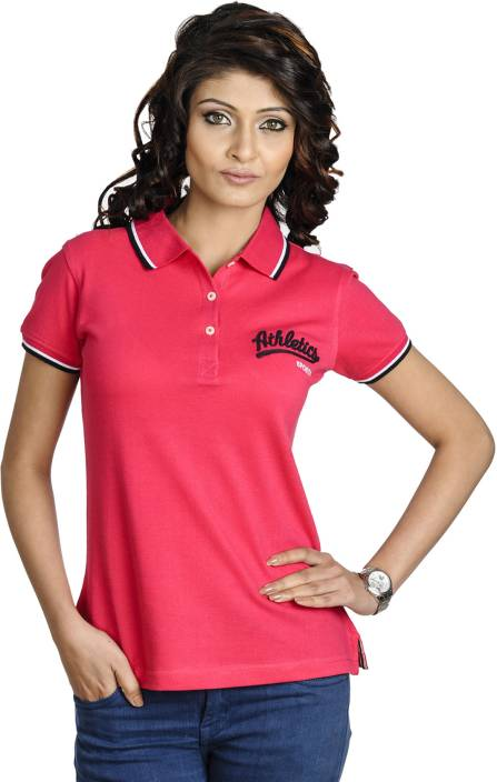Belly Bottom Solid Women's Polo Neck Pink T-Shirt