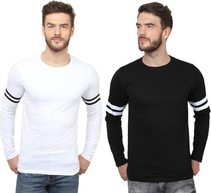 SayItLoud Solid Men's Round Neck Black, White T-Shirt - Buy Black ...