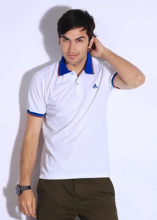 5c368d94 ADIDAS Solid Men's Polo Neck Blue, Red, White T-Shirt - Buy WHT ...