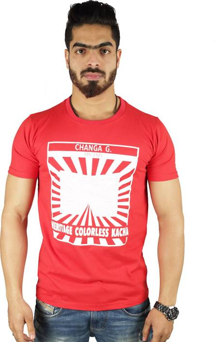 Vimanika Graphic Print Men's Round Neck Red T-Shirt
