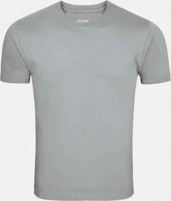 Zovi Solid Men's Round Neck Grey T-Shirt