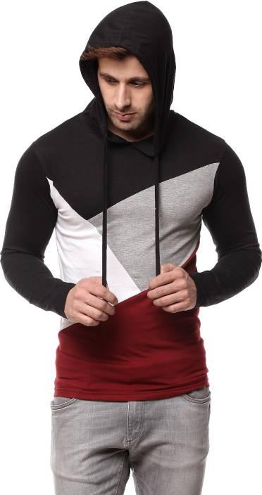 Gritstones Solid Men's Hooded Black, Maroon T-Shirt