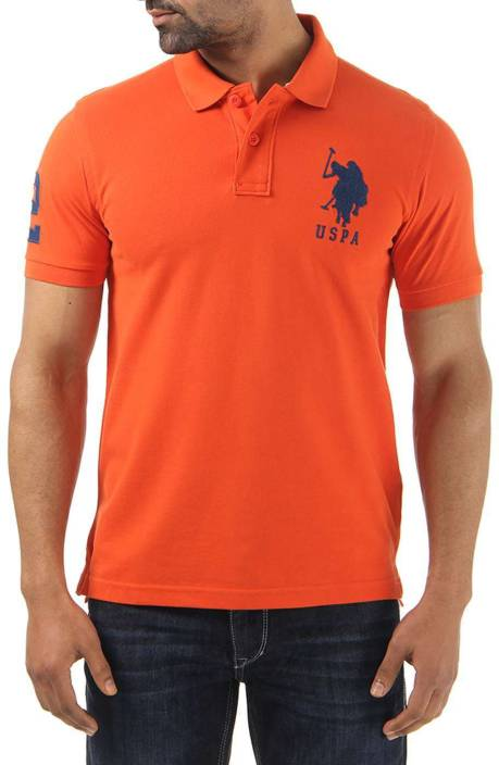 U s polo assn solid men 39 s polo neck orange t shirt buy for Polo t shirts india