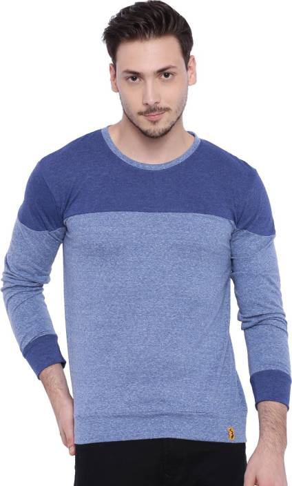 Campus Sutra Solid Men Round Neck Blue T-Shirt - Buy Denim 1cae0cdf0f86
