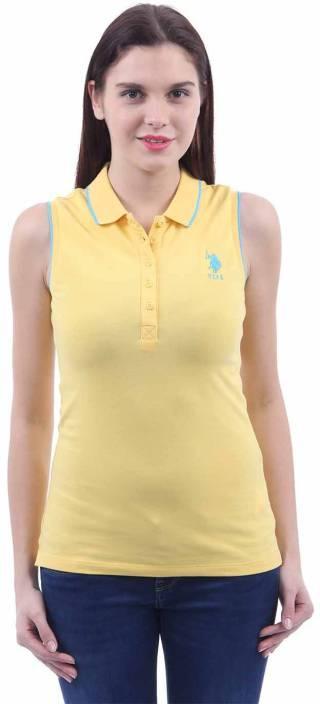 7c87cb39 U.S. Polo Assn Solid Women's Polo Neck Yellow T-Shirt - Buy Banana Cream U.S.  Polo Assn Solid Women's Polo Neck Yellow T-Shirt Online at Best Prices in  ...