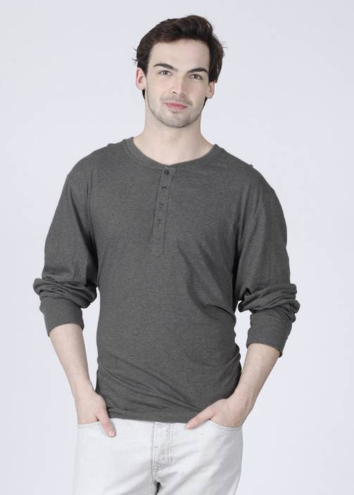 14cc1d2176e1 Freecultr Solid Men's Henley Grey T-Shirt - Buy Grey Freecultr Solid Men's  Henley Grey T-Shirt Online at Best Prices in India | Flipkart.com