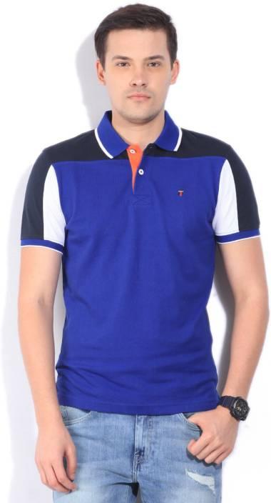 LP Louis Philippe Solid Men's Polo Neck Blue T-Shirt