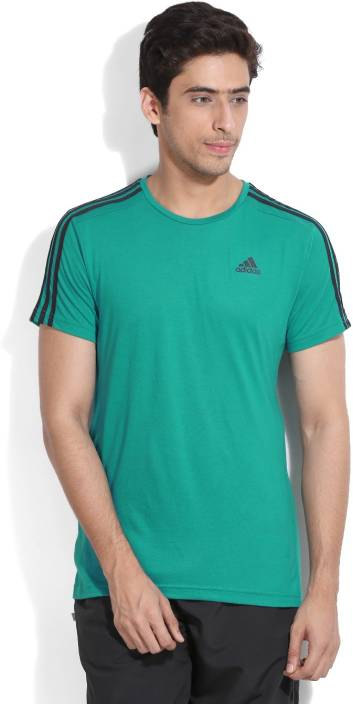 ADIDAS Solid Men's Round Neck Green T-Shirt