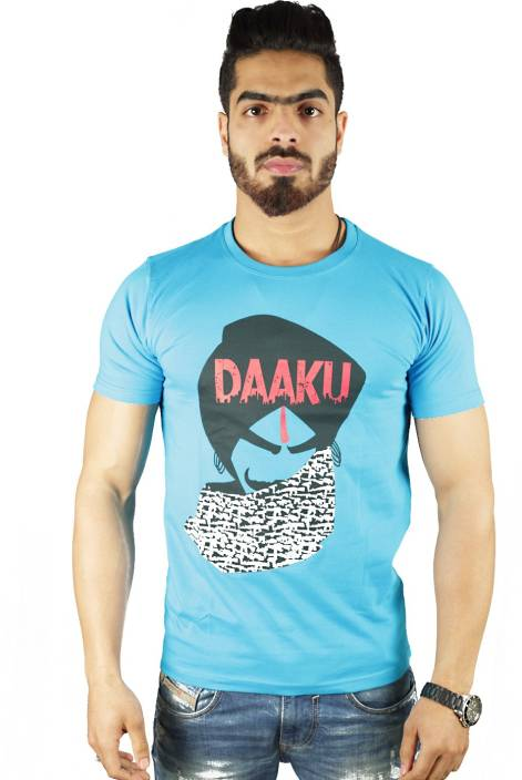 Vimanika Graphic Print Men's Round Neck Blue T-Shirt