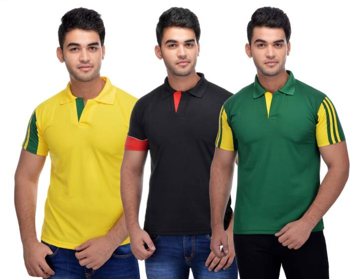 Lannister Striped Men's Polo Neck Multicolor T-Shirt