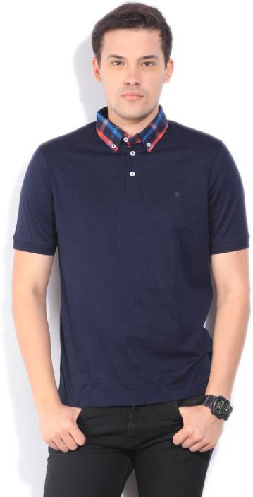 Louis Philippe Solid Men's Polo Neck Dark Blue T-Shirt