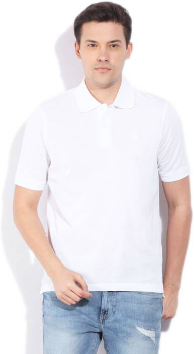 Louis Philippe Solid Men's Polo Neck White T-Shirt