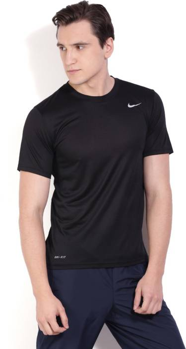 c7ec65499efa Nike Solid Men s Round Neck Black T-Shirt - Buy BLACK BLACK (MATTE SILVER) Nike  Solid Men s Round Neck Black T-Shirt Online at Best Prices in India ...