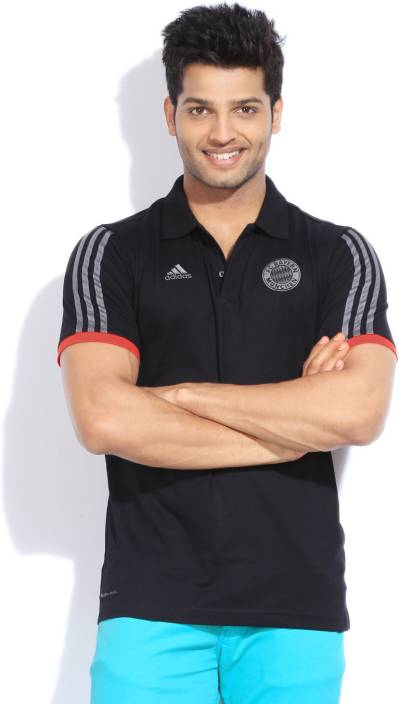 Adidas Solid Men's Polo Neck Black T-Shirt