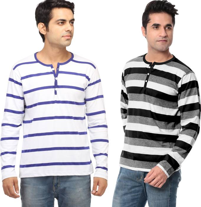 Leana Striped Men's Fashion Neck Multicolor T-Shirt