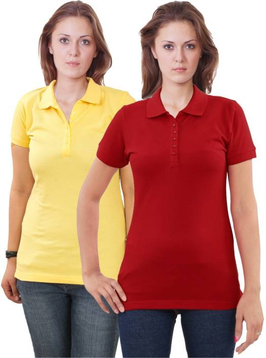 Sportking Solid Women's Polo Neck Yellow, Red T-Shirt