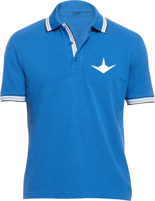 Vimanika Solid Men's Polo Neck Blue T-Shirt