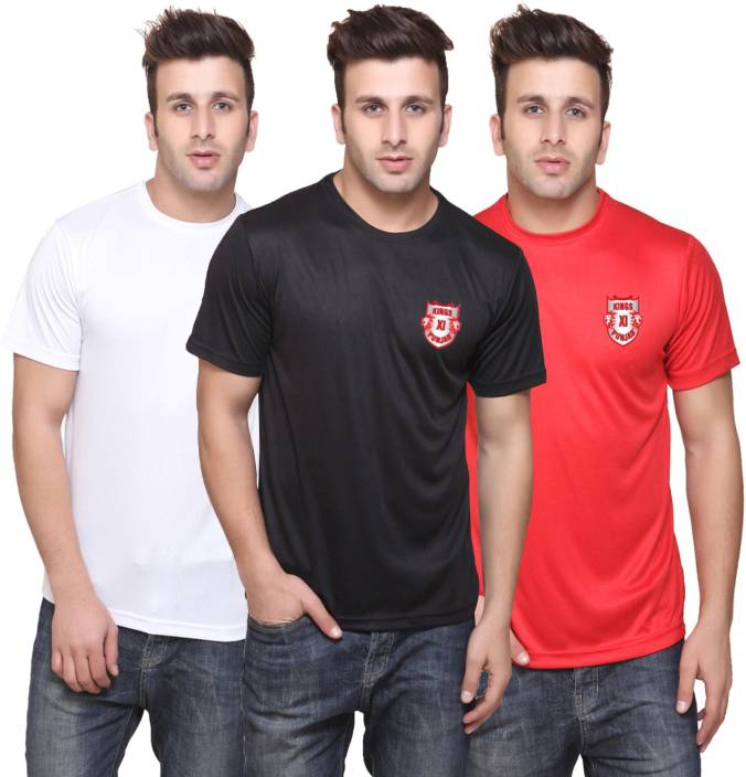 T10 Sports Printed Men's Round Neck Multicolor T-Shirt