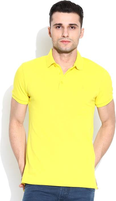 United Colors of Benetton. Solid Men's Polo Neck Yellow T-Shirt