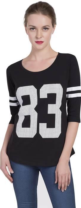 Alan Jones Printed Women's Scoop Neck Black T-Shirt