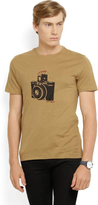 LP Jeans by Louis Philippe Printed Men's Round Neck Brown T-Shirt