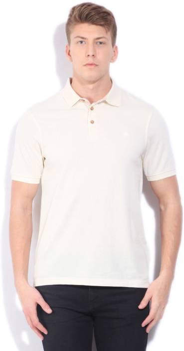 Louis Philippe Woven Men's Polo Neck Beige T-Shirt