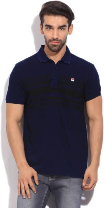 f069ab75fe Fila Striped Men's Polo Neck Black, Dark Blue T-Shirt - Buy IGO/BLK Fila  Striped Men's Polo Neck Black, Dark Blue T-Shirt Online at Best Prices in  India ...