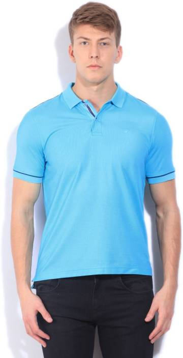 Louis Philippe Solid Men's Polo Neck Light Blue T-Shirt