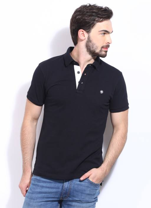 Locomotive Solid Men's Polo Neck Black T-Shirt