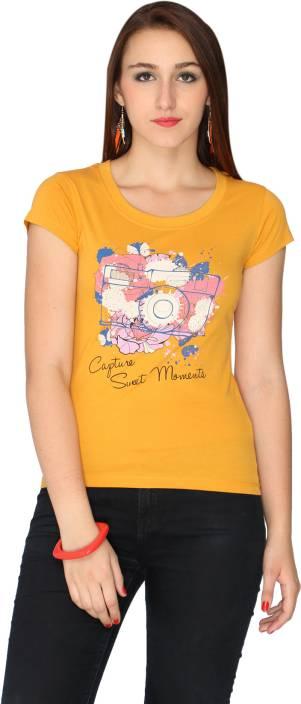 72680071 Max Printed Women's Round Neck Yellow T-Shirt - Buy Mustard Max ...