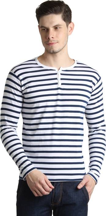 BigIdea Striped Mens Henley White, Dark Blue T-Shirt